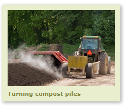 Turning compost piles